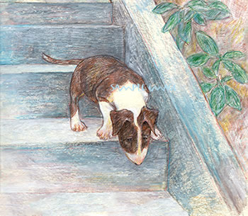 Rory Ventures Out - a Bull Terrier dog print by Roberta Laidman