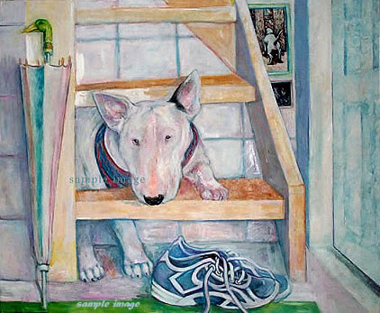 white bull terrier - laidman dog print