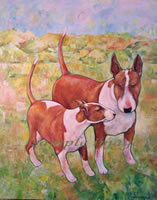 barbra & fletcher red bull terriers a laidman dog print