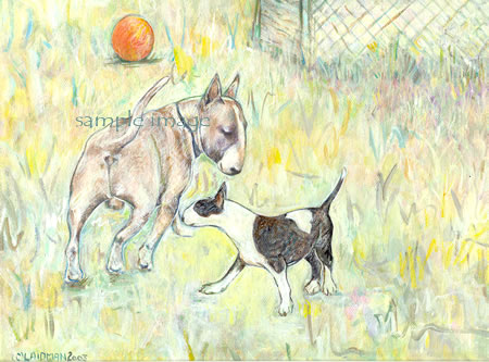 Rufus & Madelyn - bull terrier print by Roberta Laidman